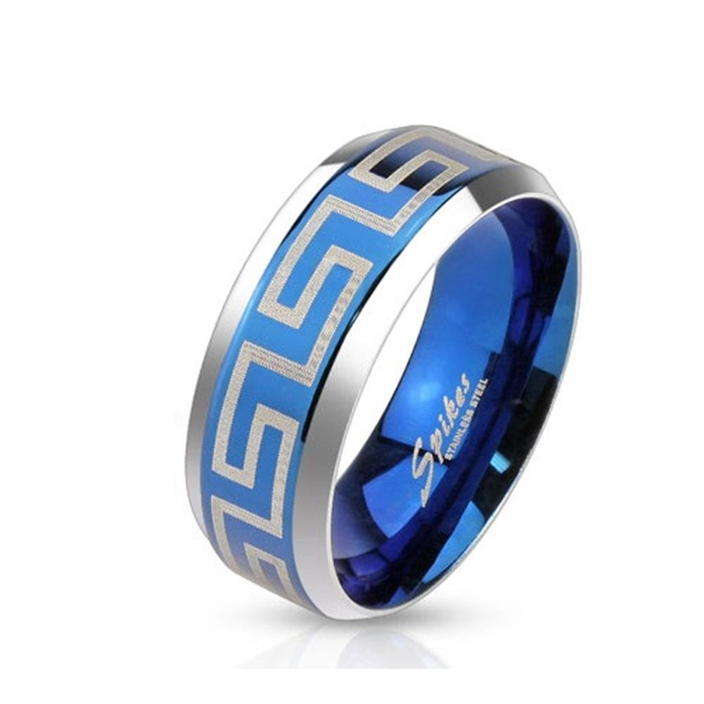 Paula & FRITZ® Bague en acier inoxydable acier chirurgical 316L 6ou 8mm de large ruban bleu avec motif lasergraviertem Labyrinthe disponibles Tailles 47(15)–69(22) R Bague m3650 R-M3650