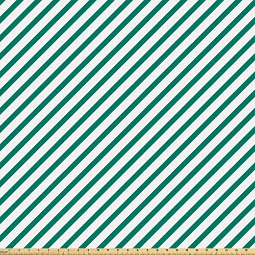 Lunarable Green Fabric by The Yard, Diagonally Striped Pattern Fresh Forest Colors Simple Contemporary Display, Microfiber Fabric for Arts and Crafts Textiles & Decor, 5 Yards, Forest Green White from Lunarable