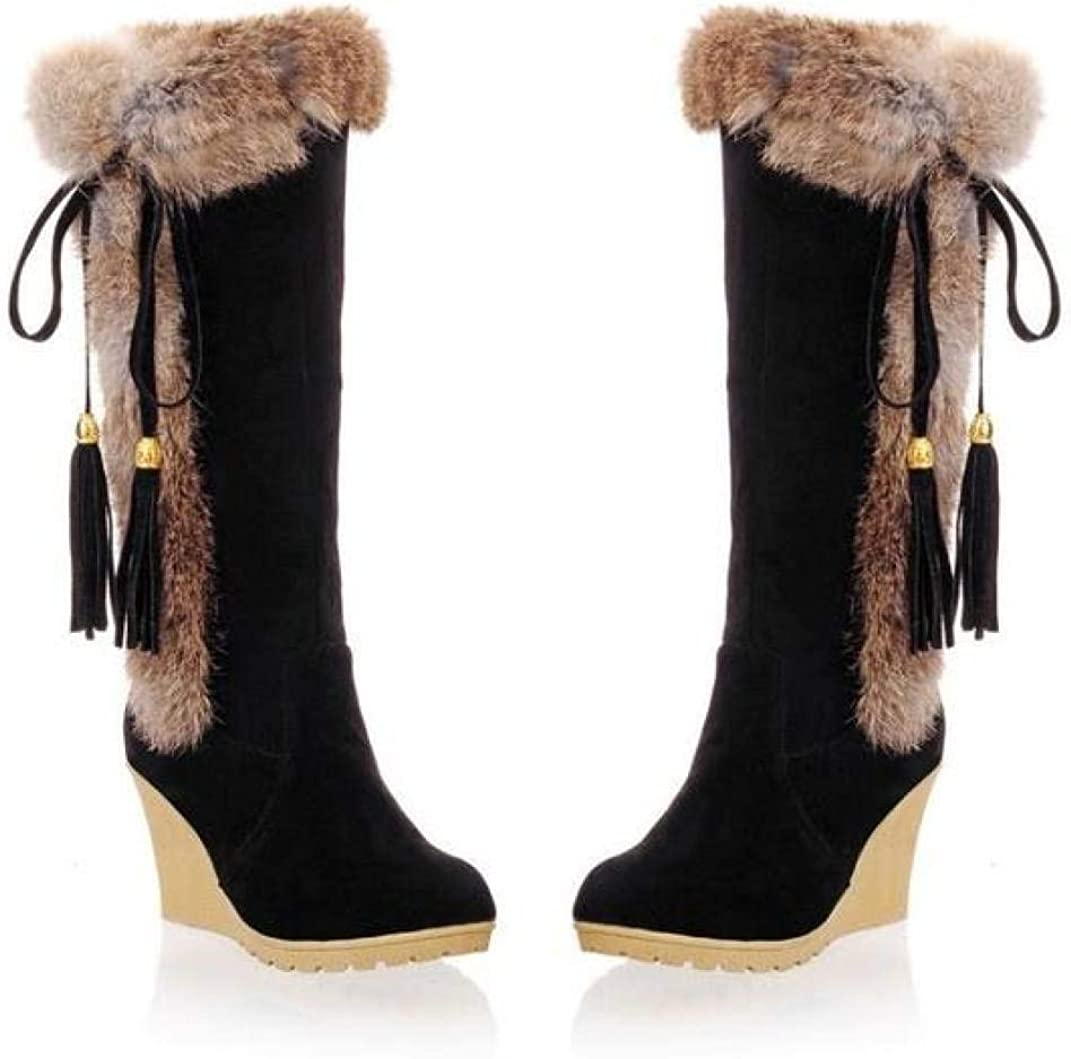 Details about  /Womens Faux Fur Mid Calf Riding Boots Round Toe Pull On Low Block Heels Shoes