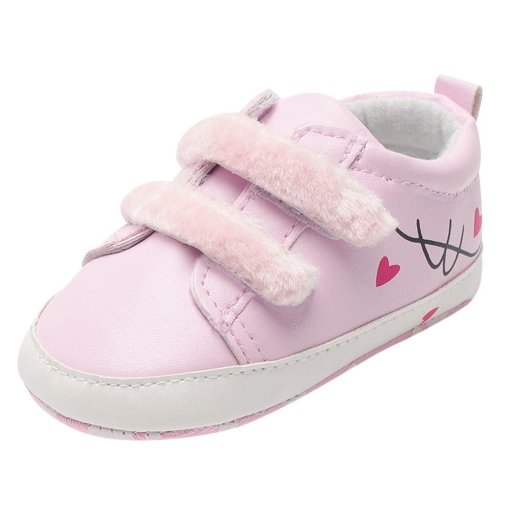 Newborn Baby Girls Leather Sneakers Heart Print Flock Soft Sole Infant First Walker Shoes