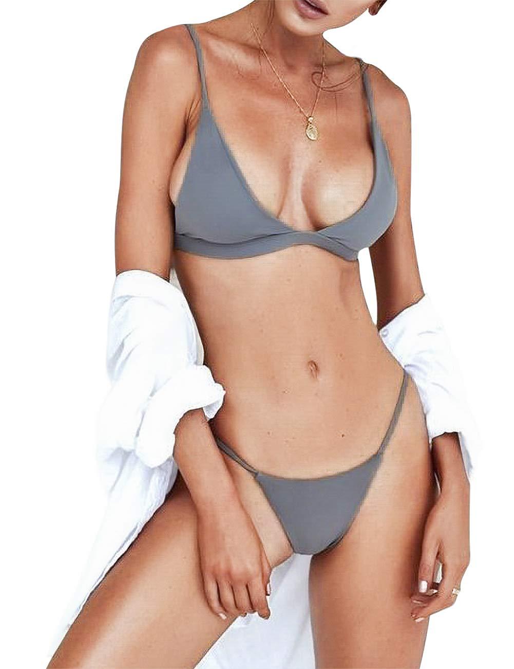 Minimalism Le Women's Brazilian Bikini Set Cheeky Swimsuit Thong Swimwear