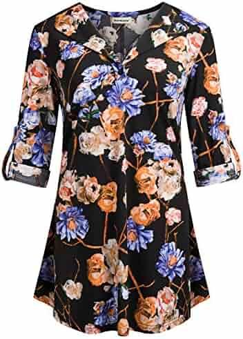 7d02933e0da84e Nandashe Womens 3/4 Roll Sleeve Shirts Floral Blouses Button up Loose Tunic  Tops