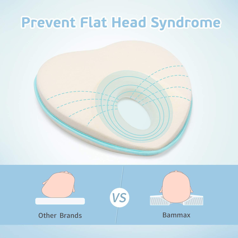 Bammax Cuscino Neonato Plagiocefalia Sfoderabile Cuscino per la Prevenzione e Cura della Testa Piatta in Memory Foam con una Federa