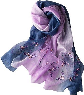 TOPSTORE01 Écharpe Châle Corée Élégant Fleurs Brodées Laine Foulard Imprimé Étole  Femme (Violet) 0551bd87d16