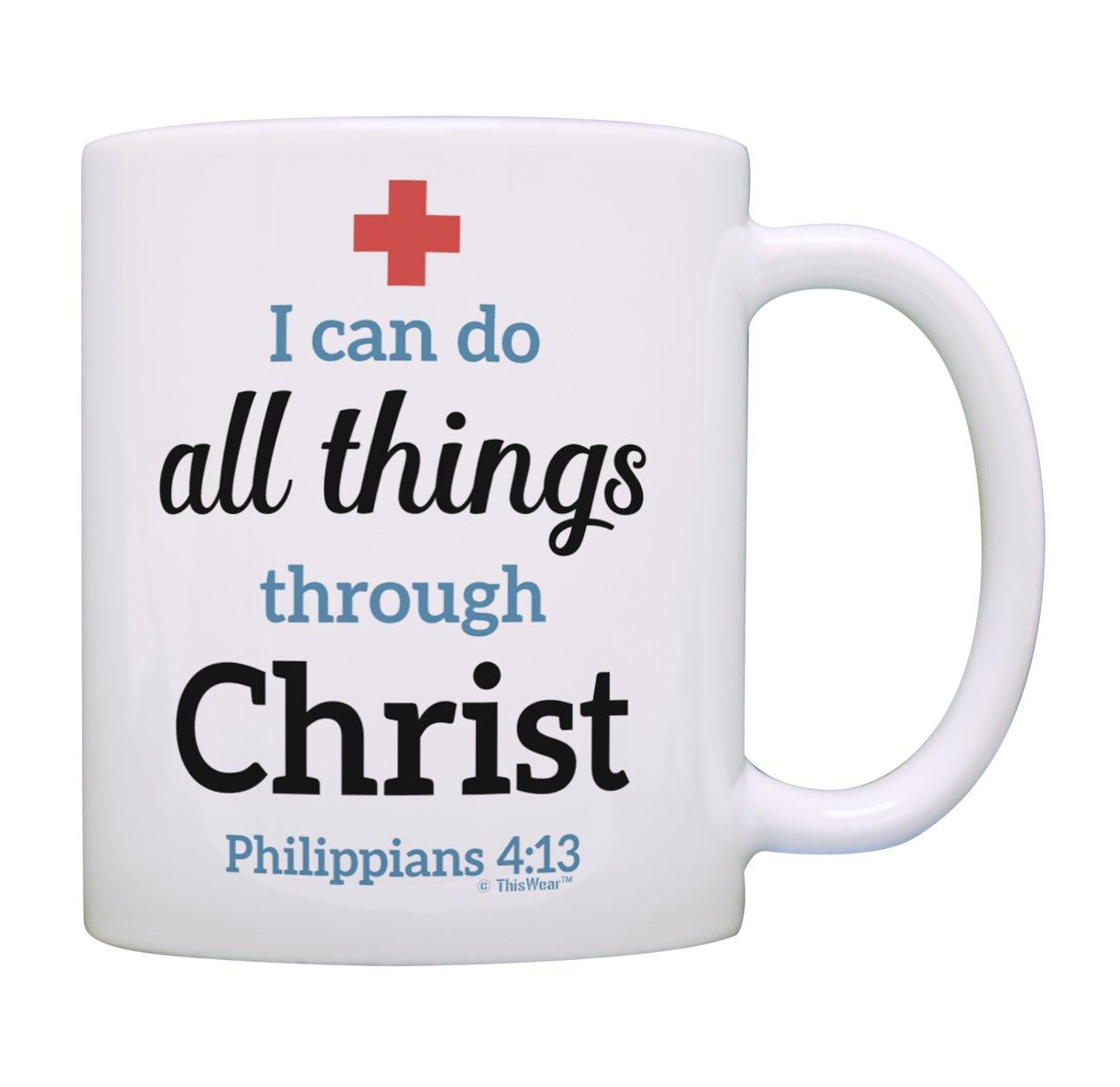 授乳ギフト看護師看護婦PractitionerギフトInspiring Bible Verse Philippians 4 : 13 CNAギフトコーヒーマグティーカップ 1 ホワイト B07BRZQ9FQ