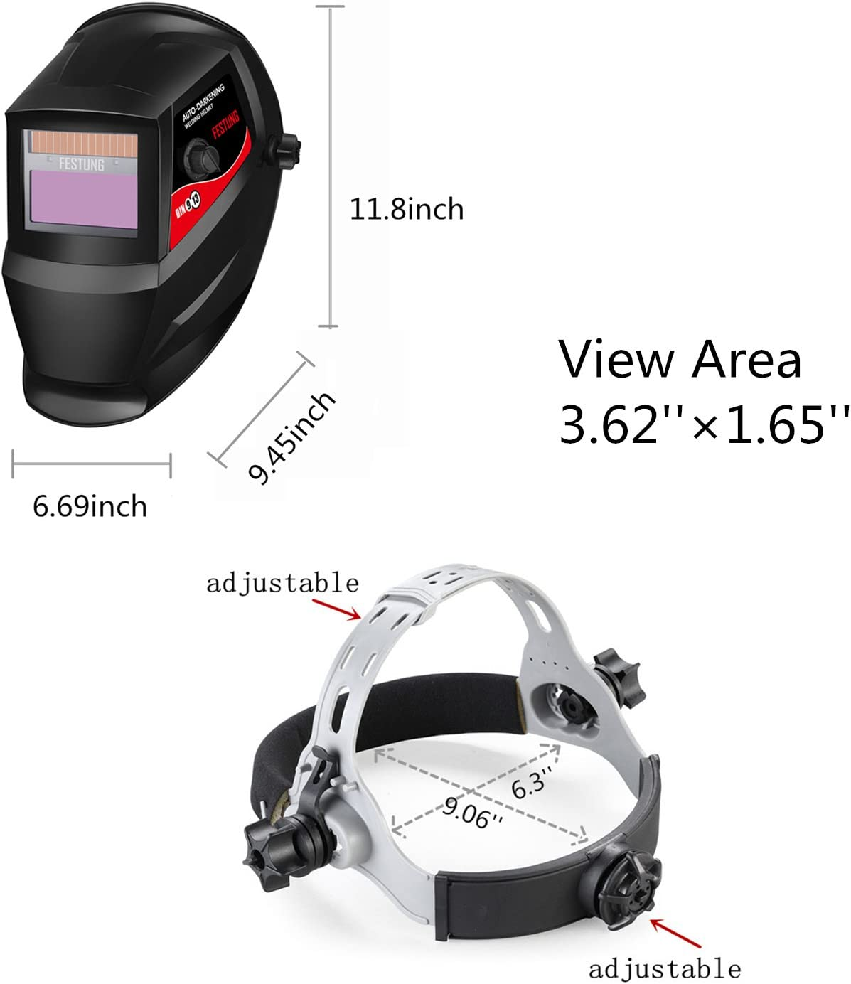 Pupzo Welding Helmet Solar Power Auto Darkening with 2 Arc Sensors /& Two Shade Ranges 5-8//9-13 with Grinding Feature Extra lens covers Good for TIG MIG MMA Plasma Batman
