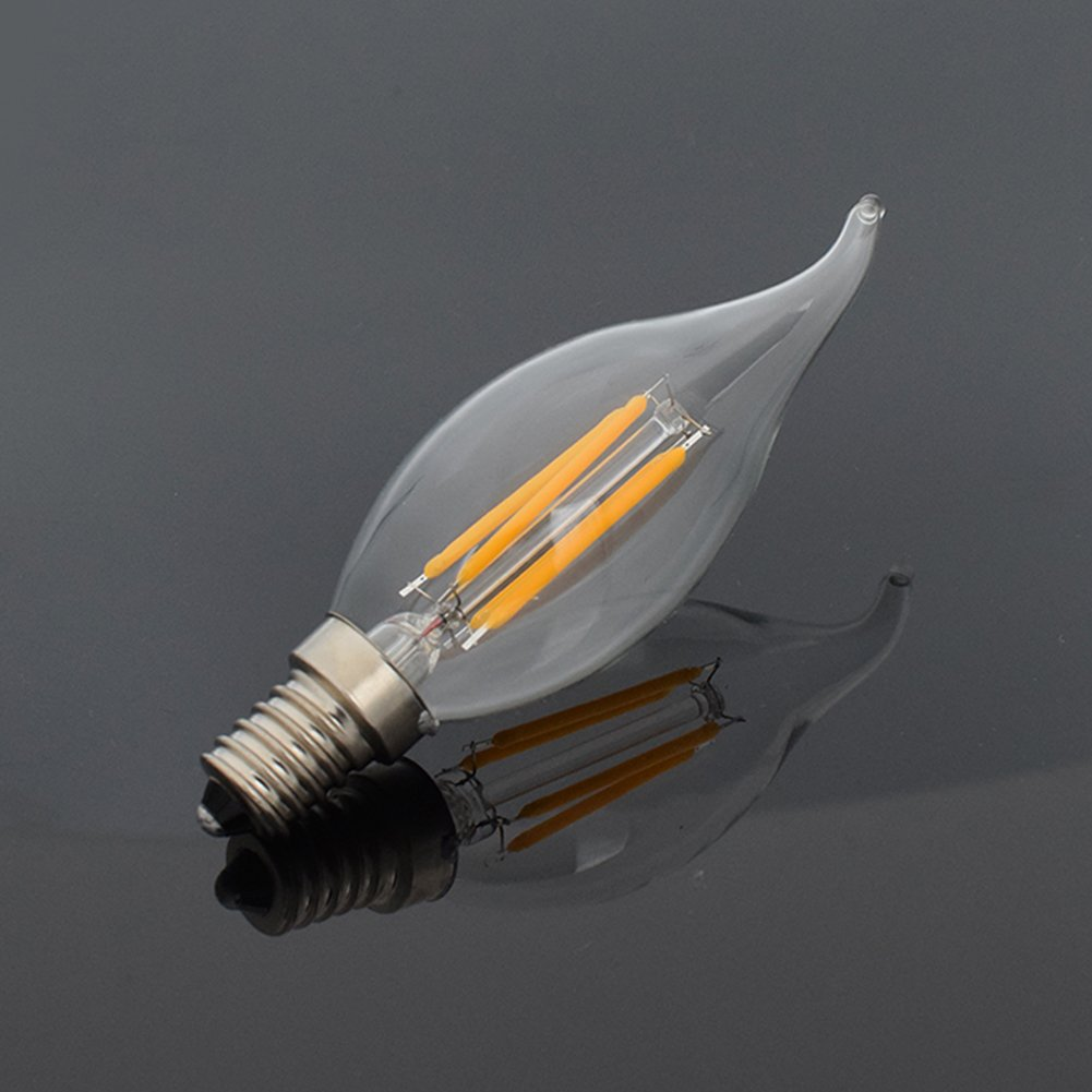 YCDC 12X Dimming E12 8W Filament Bulb LED Light C35 Flame House Lamp Warm White