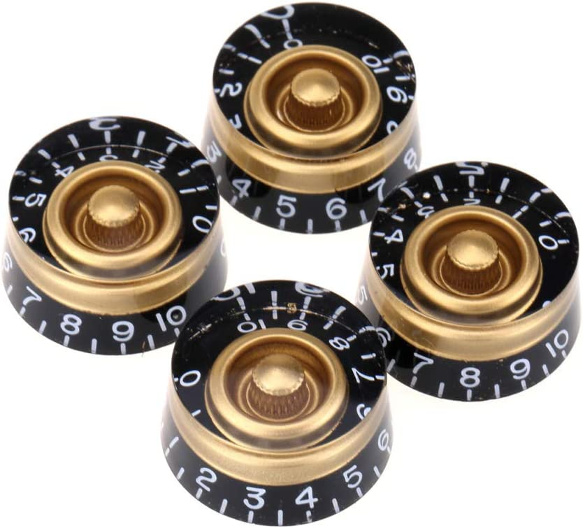 Musiclily Pro Metric Size 18 Spline Electric Guitar Speed Knobs for Epiphone Les Paul SG Asia Import Guitar Bass Split Shaft Pots, Gold (Set of 4)