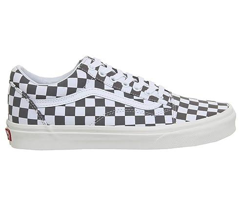 1b1f6de03d8 Vans Unisex s Old Skool (Checkerboard) Pewter Marshmallow Sneakers-10 UK  India