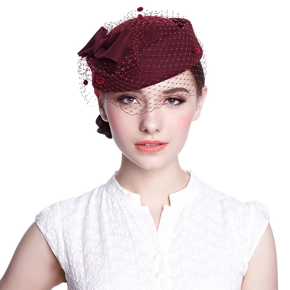 Women French Beret Hat Autumn Winter 100% Wool Wedding Party Top Hat Church Hat for Women