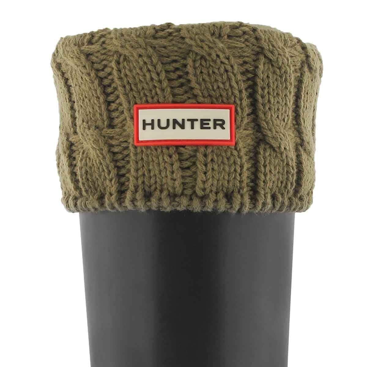 Hunter Boots Women's 6 Stitch Cable Boot Sock Khaki LG M US