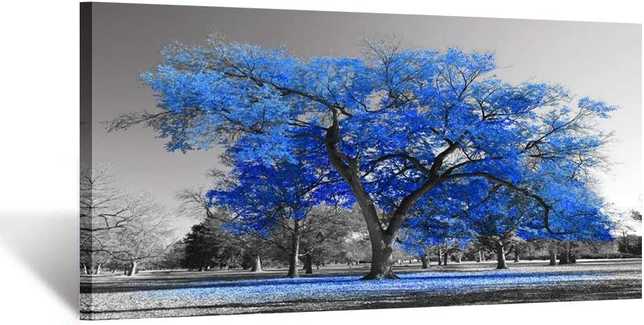 Kreative Arts Canvas Prints Blue Tree Wall Art Painting Contemporary Black and White Fall Landscape Pictures Modern Giclee Stretched and Framed Artwork for Walls Living Room Bedroom Office 20x40inch