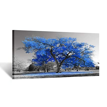 Kreative Arts Canvas Prints Blue Tree Wall Art Painting Contemporary Black And White Fall Landscape Pictures Modern Giclee Stretched And Framed Amazing Contemporary Bedroom Wall Art