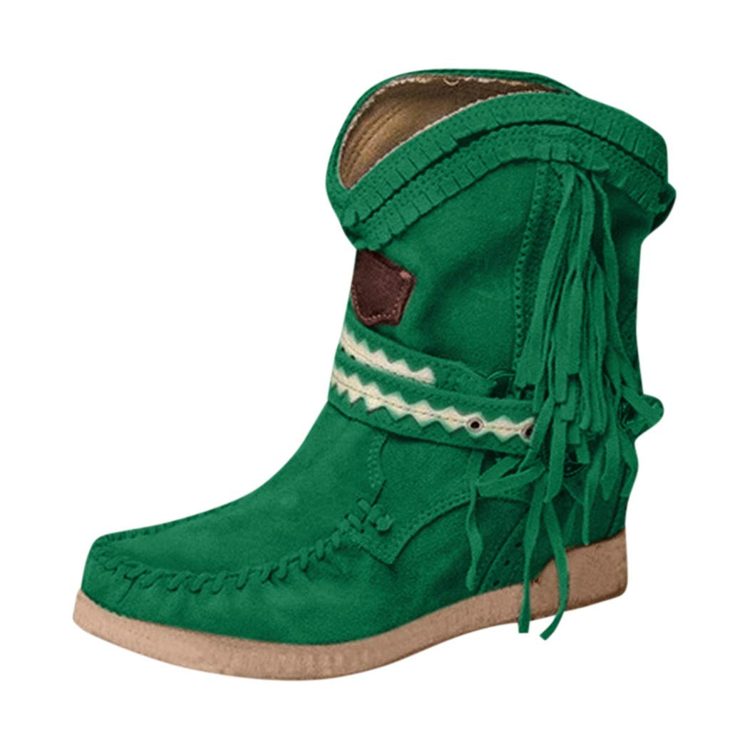 Fheaven Women's Wedges Ankle Booties Retro Retro Comfy Short Boots Leather Zip Flats Shoes Green by Fheaven-shoes