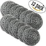 DIY House 12 Pack Extra Large Stainless Steel Scourers Sponges Scrubbers,Metal Scouring Pads Tackling for tough cleaning jobs.