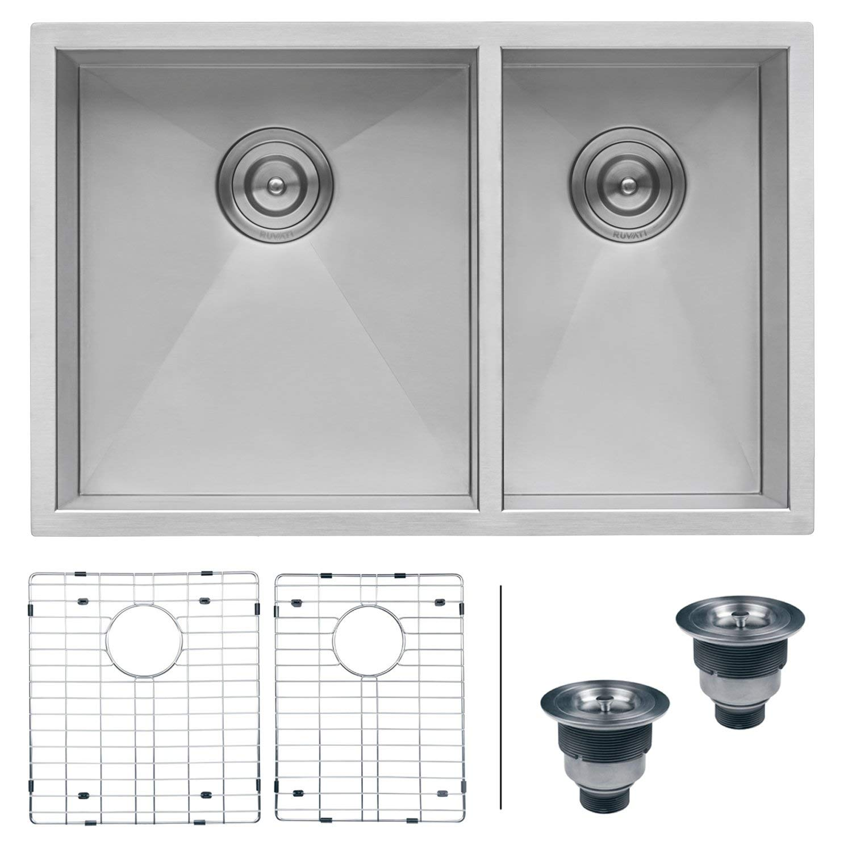 Ruvati 32-inch Undermount 60/40 Double Bowl Zero-Radius 16 Gauge Stainless Steel Kitchen Sink - RVH7515 (Renewed)