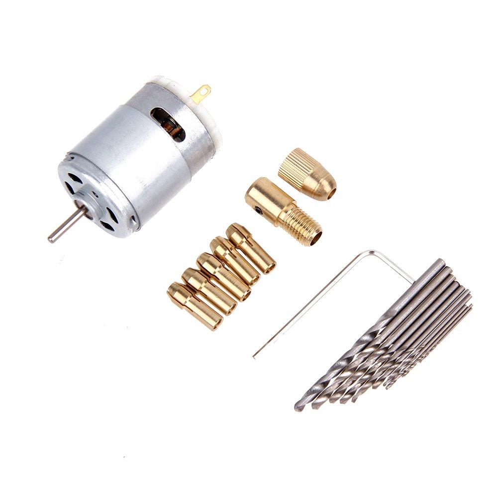 Elektrische Handbohrmaschine Mini kleiner 12 V Motor und 0,5-3,0 mm Spiralbohrer Rotary T