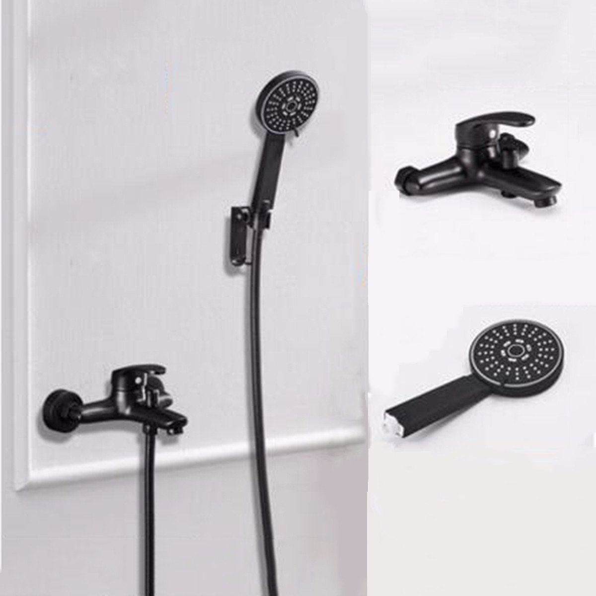 D CJSHV European Black Hot And Cold Bath Shower Faucet Bathroom Shower Set Into The Wall At The Soft Fixed redation Adjustment Of Water,A