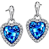 Neoglory Blue Ocean Heart Crystal Drop Earrings Rhinestone Platinum Plated Fashion Christmas Gifts