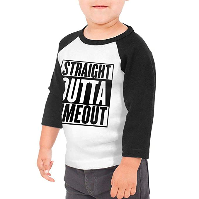 424f03d7 Waldeal Kids Straight Outta Timeout Raglan Tee Straight Out of Mommy Shirt  Size 2 Black
