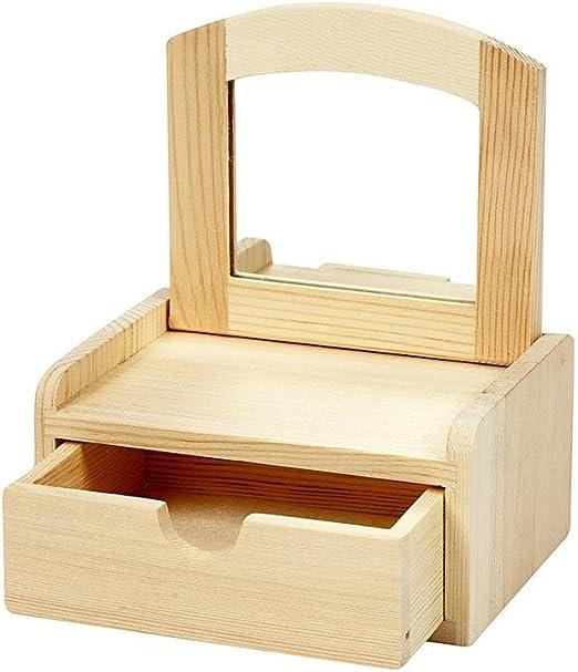 Caja rectangular de madera con Tapa con espejo   De madera para ...