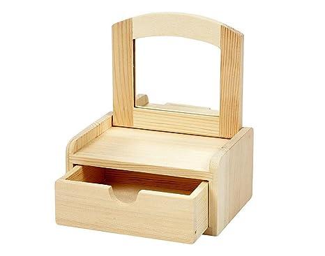 Caja rectangular de madera con Tapa con espejo | De madera para manualidades