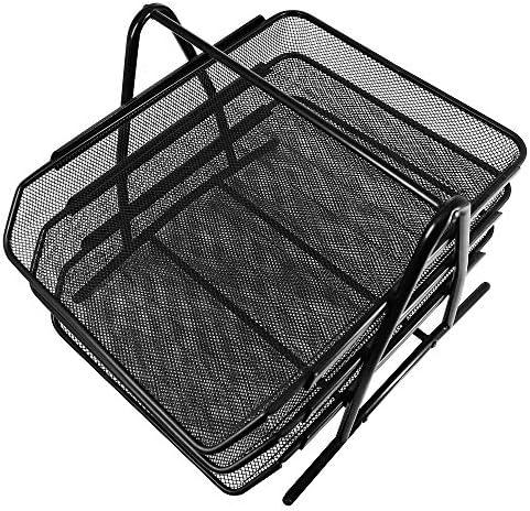 ファイルシェルフ 3層の手紙の皿のオルガナイザー、デスクトップの文書のペーパーファイルデスクのオルガナイザーの棚 書類トレー?レターケース (色 : Black, Size : 27.8X35X27.5CM)