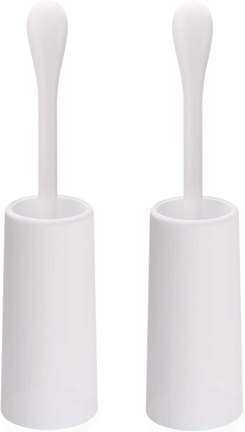 AmazerBath Toilet Brush and Holder, 2-Pack Good Grip Toilet Brush Compact Toilet Bowl Brush Set with Strong Bristles, Long Handle, Deep Cleaning (White)