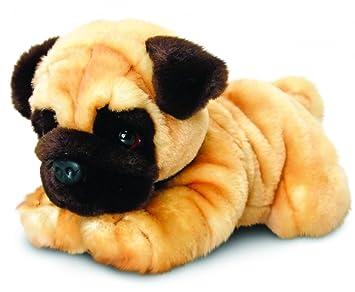 Keel Toys Peluche Chien Carlin, couché env. 30 cm en kit avec Beurre pour
