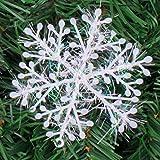 Muhan White Snowflakes Glittering Mini Snow Flake Ornaments Christmas Tree Windows Decorations