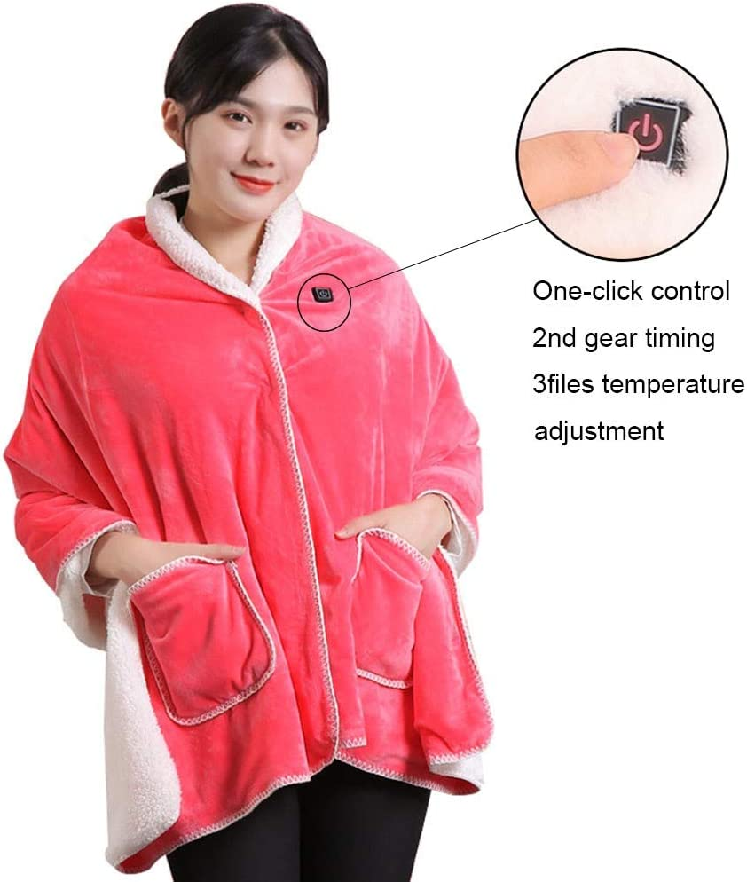 blanket SUB Heated Shawl Battery Operated Cordless Wrap for Women, Electric with Auto Shutoff Ultra Soft Throw Flannel Warm Cape, for Car Office Chair-Machine Washable 170x70cm