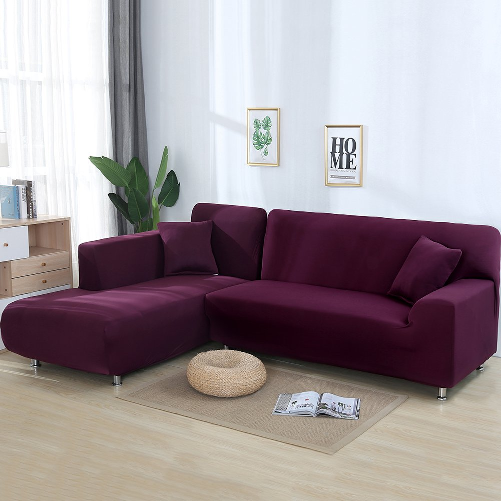 Premium Quality Sofa Covers for L Shape, 2pcs Polyester Fabric Stretch Slipcovers + 2pcs Pillow Covers for Sectional sofa L-shape Couch - Solid Color Rose cjc