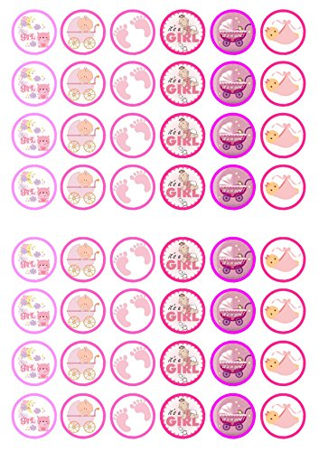 48 Its A Girl Mix Baby Shower/Birth Edible PREMIUM THICKNESS SWEETENED VANILLA, Wafer Rice Paper Cupcake Toppers/Decorations
