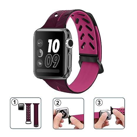 Fatetec Apple Watch Accesorios Correa, Silicona Suave Sport Replacement Strap para iWatch Serie 1 Serie 2 Serie 3 (42MM, Purple)