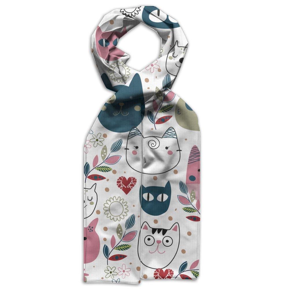 DGYEG44 Cute Cat Heads Printing Scarf Kids Warm Soft Fashion Scarf Shawl For Autumn Winter