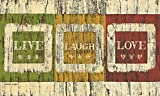 Lang - Indoor/Outdoor Door Mat - Live Laugh Love, Exclusive Artwork Warren Kimble - 100% Polyester - Slip-Resistant Rubber Backing - 18