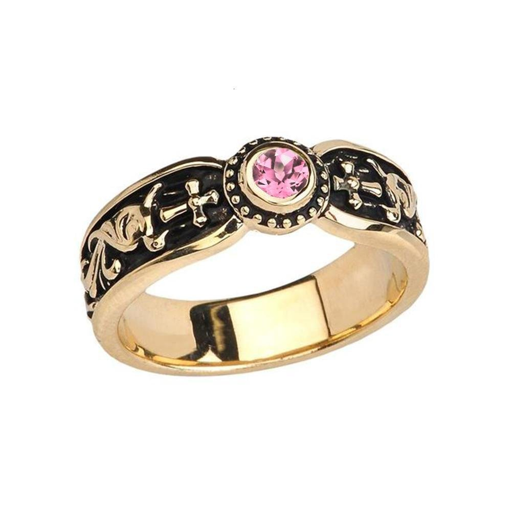 Fine 14k Yellow Gold Pink CZ Solitaire Vintage Sideway Cross Wedding Band (Size 7.75)