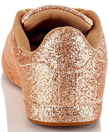 Capa Robbin Fashion Light Glitter Lace Up Low Top Sneaker Rose Gold Glitter