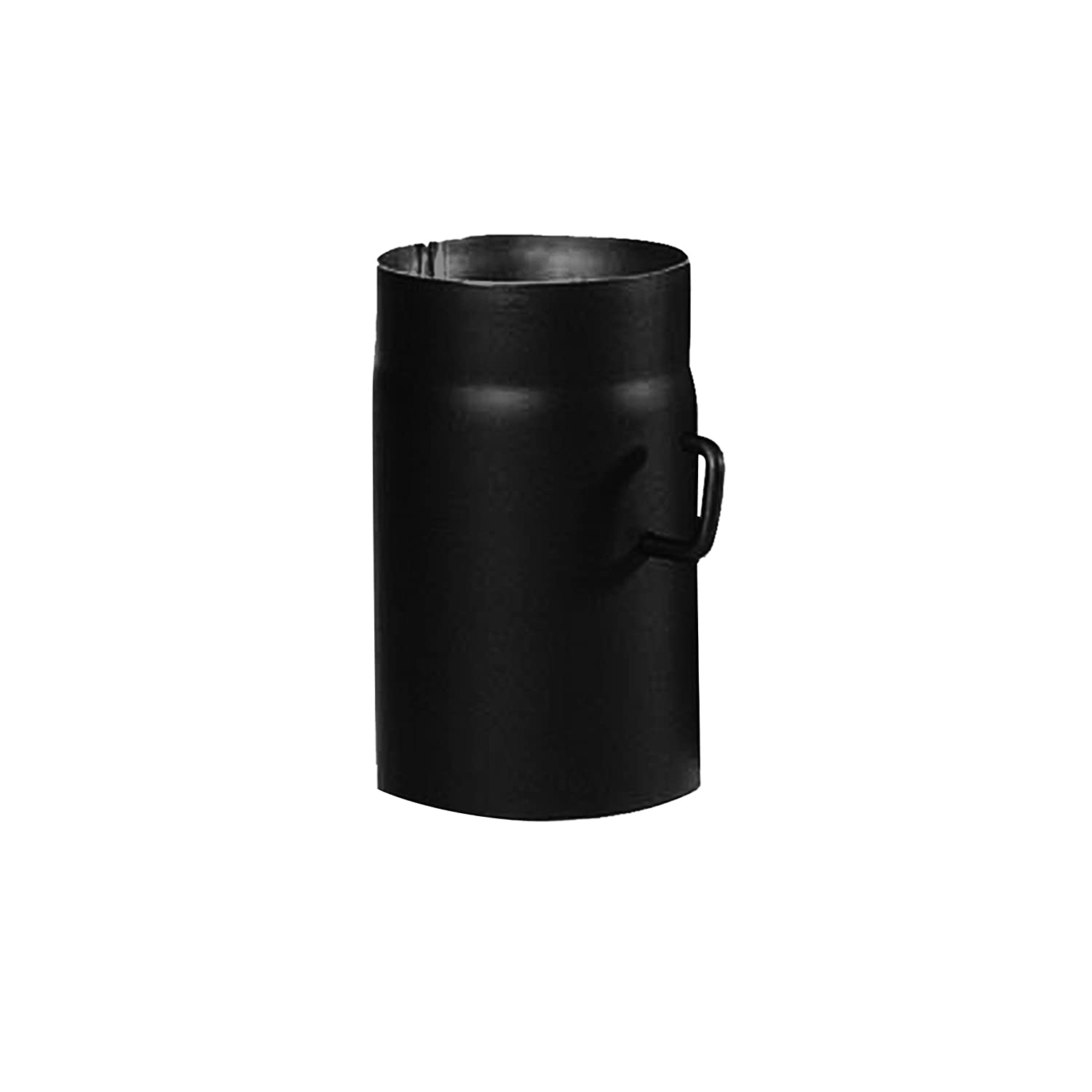 Kamino - Flam Ø 150 mm Stove Pipe with Throttle, approx. 250 mm Straight Length Flue Pipe with Damper, Steel Stove Pipe Extension with Throttle Flap, Heat Resistant Senotherm Coating, Black 331840
