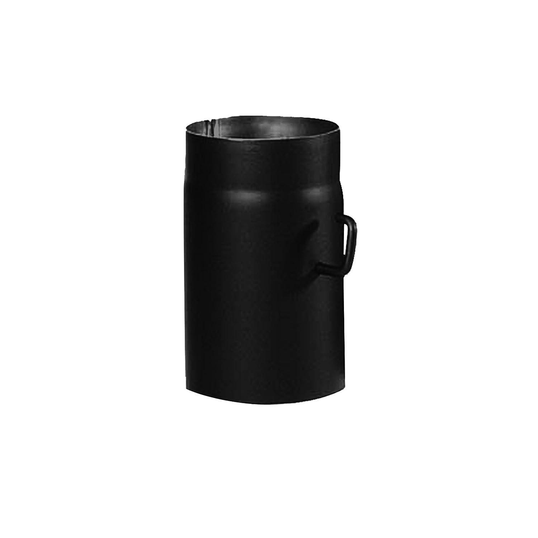 Kamino-Flam – Tubo con válvula para chimenea (diámetro 150 mm/longitud 250 mm), Tubo de escape para estufa de leña, Conducto de humos, negro Kamino Flam 331840