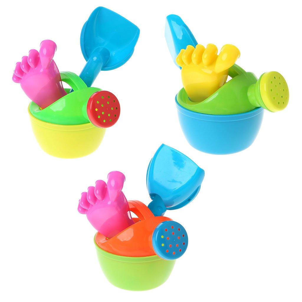 Jigang 3pcs/set Cute Small Plastic Flower Watering Pot Kettle Toys - Watering Can Baby Bath Toy - Children's Beach Play Water Sand Tool Toys - Non-toxic