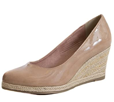 df42db724a6a MARCO TOZZI - Mae Candy Nude Patent Closed Toe Hessian Espadrille Wedges  Ladies Shoes Size 6