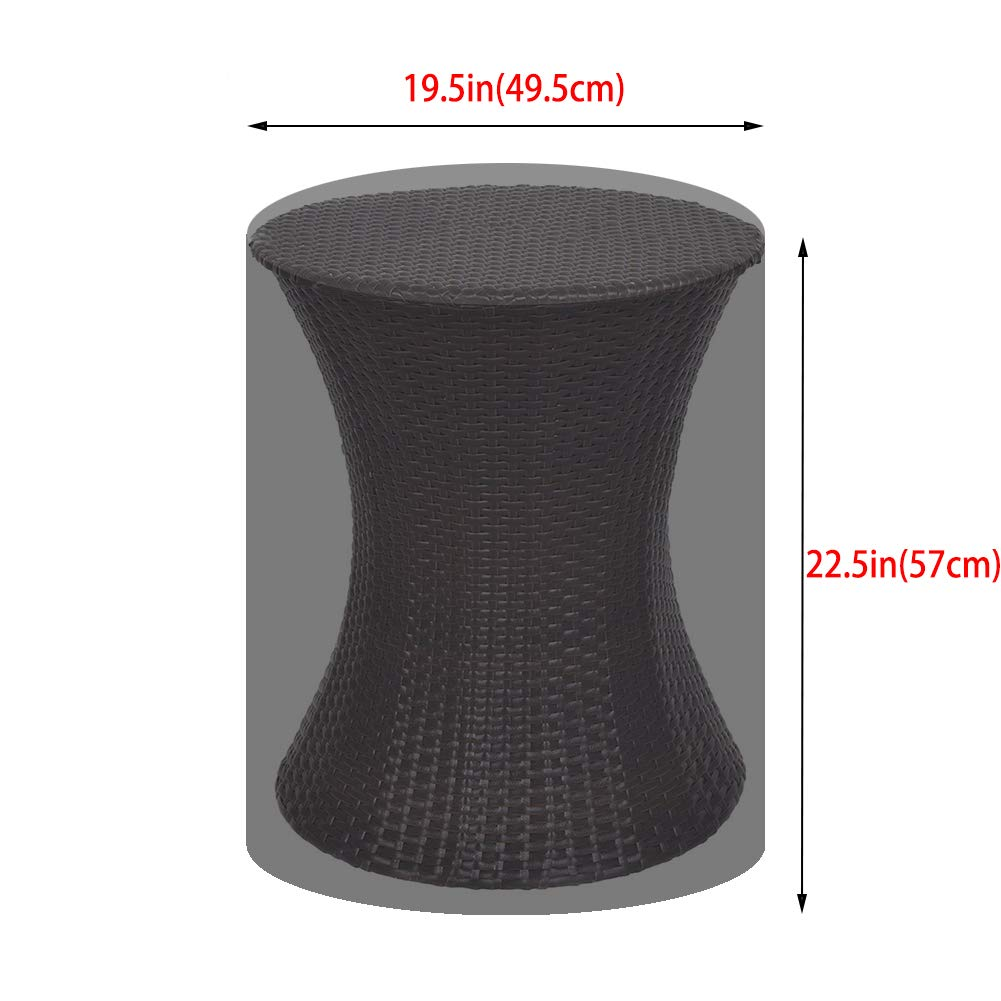POMER Patio Table Cover for Keter 7.5-Gal Cool Bar Rattan Style Outdoor Patio Pool Cooler Table