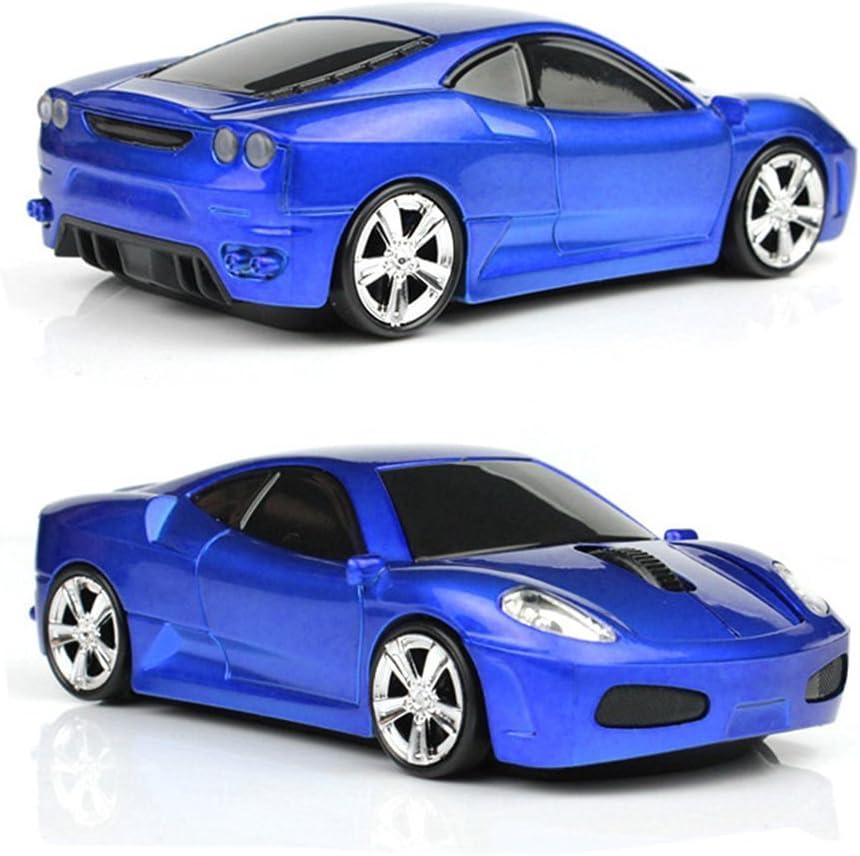 UrChoiceLtd® Ferrari F430coche ratón inalámbrico 2.4G 1600dpi USB Optical Gaming ratón para portátil Mac (azul oscuro)