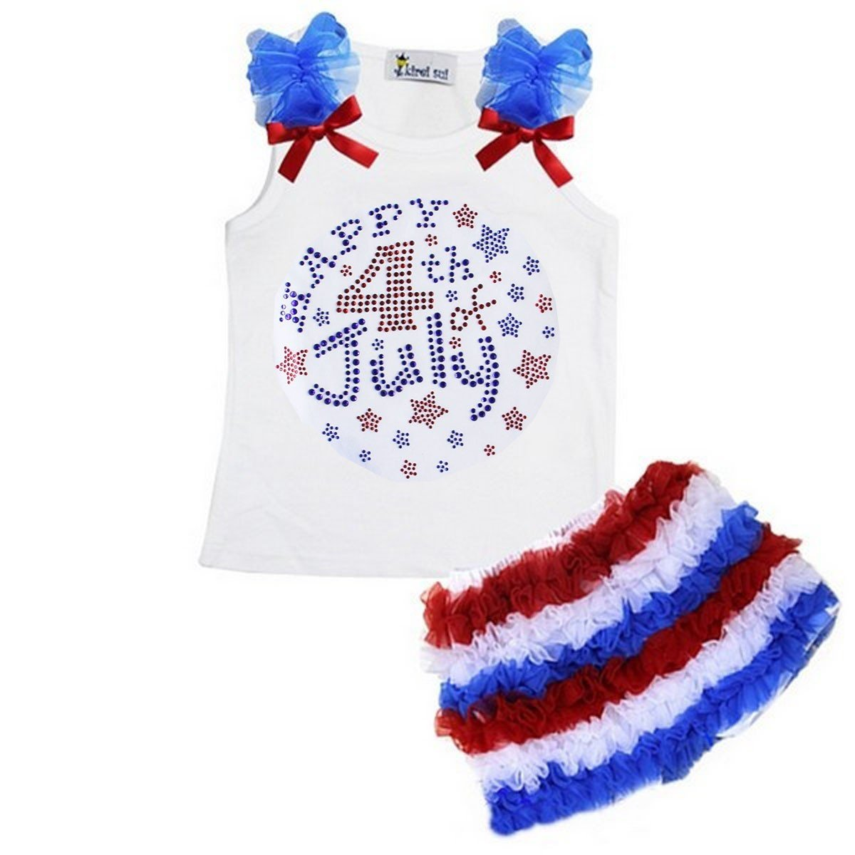 Kirei Sui Red White Blue Ruffled Shorts Happy 4th July Tank Top Medium White