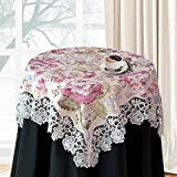 homand'o Square Tablecloth White Embroidered Lace with Floral Printed Fabric 33x33 Inch (85x85cm) Elegant Home Decoration