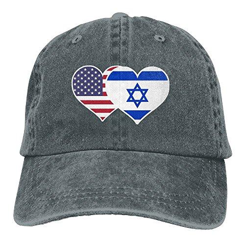 NZWJW85 2018 Adult Fashion Cotton Denim Baseball Cap American Israel Flag Heart Classic Dad Hat Adjustable Plain Cap