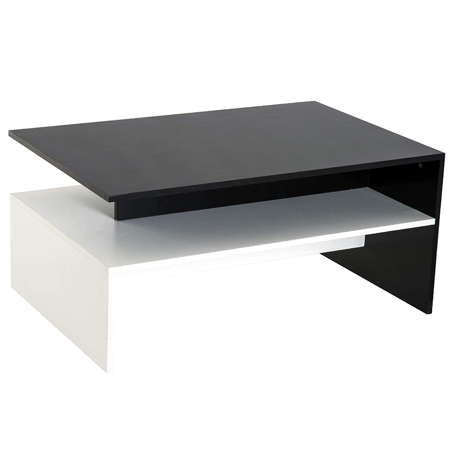 Minimalist Coffee Table Couch Sofa Side Cocktail Table w/Storage Shelf Living Room Home Office Furniture White/Black Aosom Canada