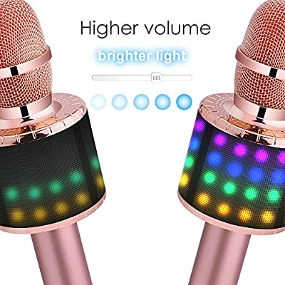 BONAOK Wireless Bluetooth Karaoke Microphone with Controllable LED Lights, Portable Handheld Karaoke Speaker Machine Christmas Birthday Home Party for Android/iPhone/PC or All Smartphone(Q78Rose Gold): Musical Instruments