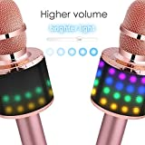 BONAOK Wireless Bluetooth Karaoke Microphone with Multi-color LED Lights, 4 in 1 Portable Handheld Home Party Karaoke Speaker Machine Christmas Gift for Android/iPhone/iPad/Sony/PC (Rose Golden)